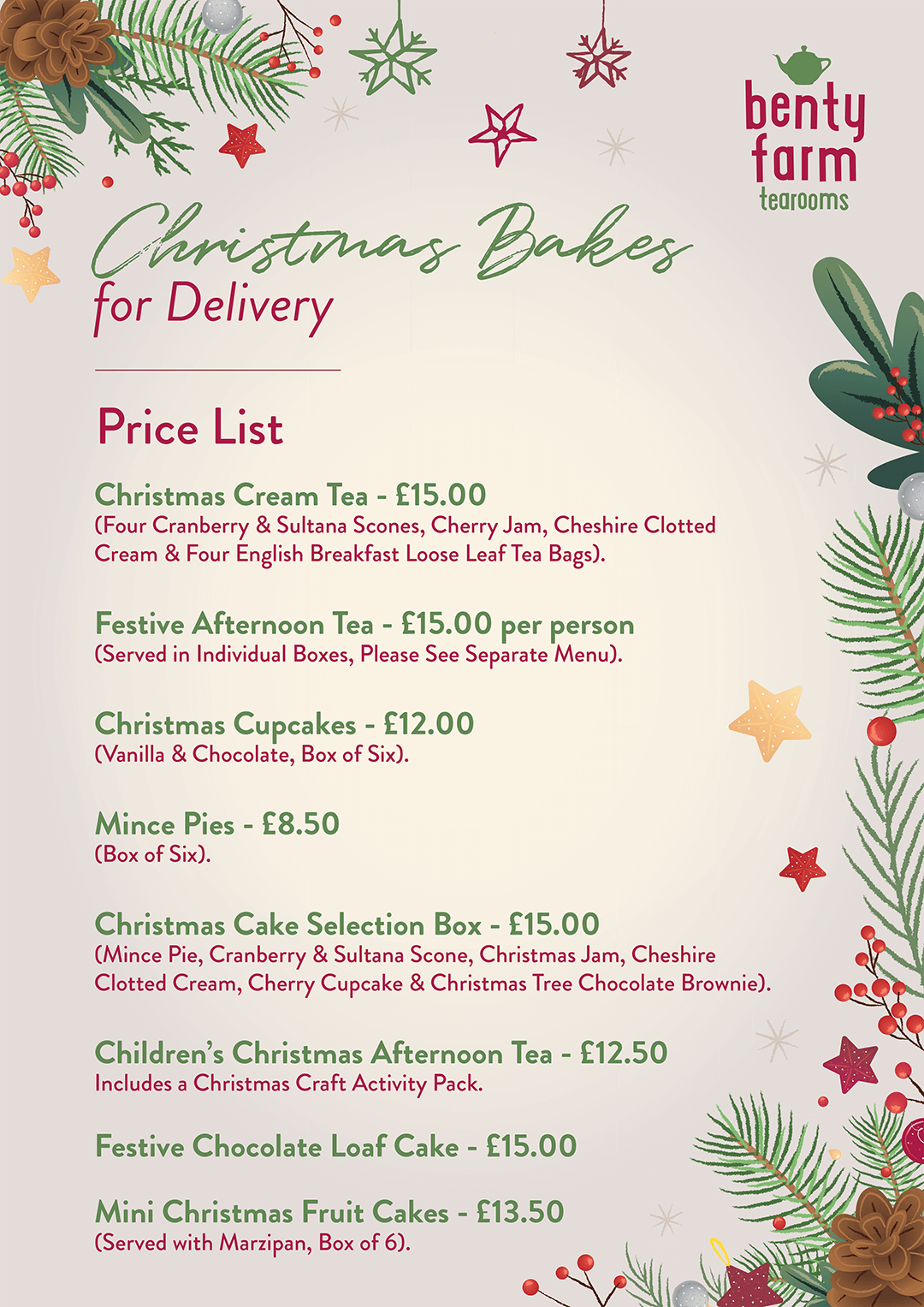 BFT CHRISTMAS BAKES PRICES 1